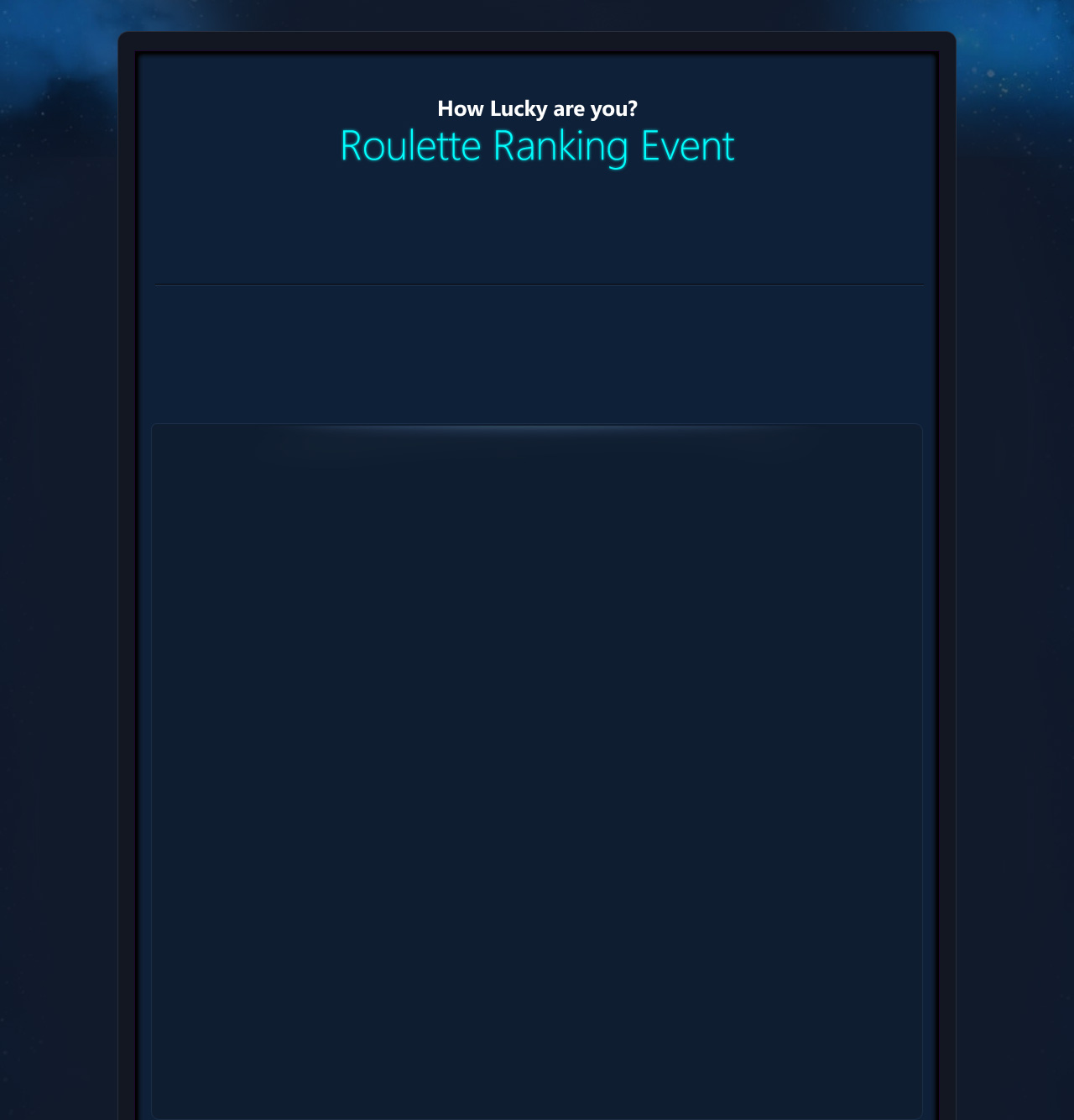 Roulette Ranking Event